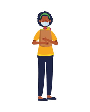 afro woman using face mask with shopping bag in supermarket vector illustration design