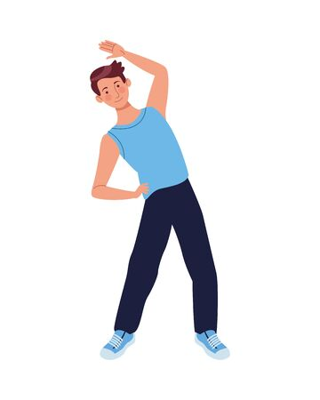 young man athlete practicing aerobics character vector illustration design Illustration