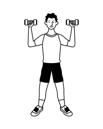 young man athlete lifting dumbbells vector illustration design