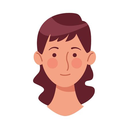 young woman head character icon vector illustration design