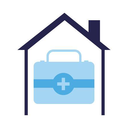 medical kit drugs inside house vector illustration design Vectores