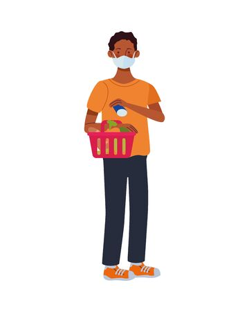 afro man using face mask with shopping basket in supermarket vector illustration design