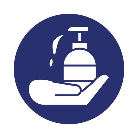 hand with antibacterial soap bottle fill icon vector illustration design