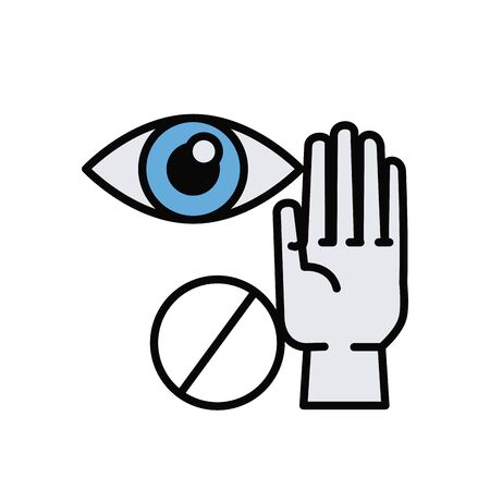 dont touch eyes line and fill style icon vector illustration design