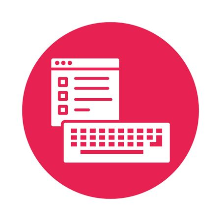 template webpage with keyboard block style icon vector illustration design