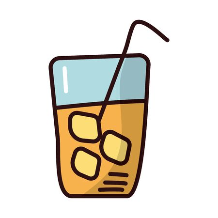 juice in glass fill style icon vector illustration design