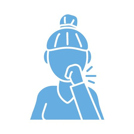 woman coughing sick line style icon vector illustration design Иллюстрация