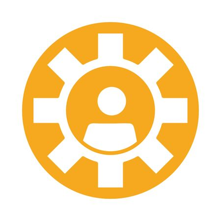 gear with user block style icon vector illustration design