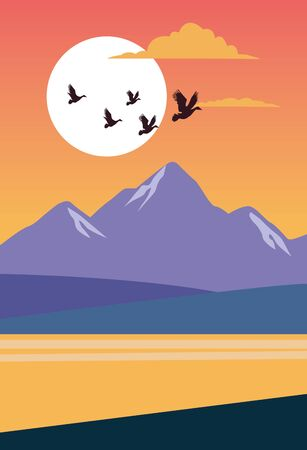 beautiful landscape with birds and lake scene vector illustration design Иллюстрация