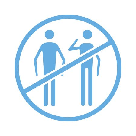 persons coughing sick in denied symbol line style icon vector illustration design Иллюстрация