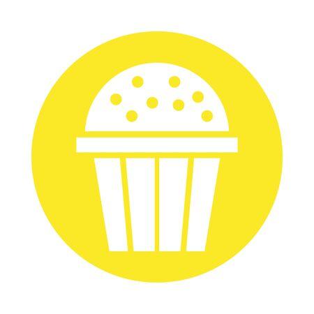 sweet cupcake pastry block style vector illustration design Illusztráció