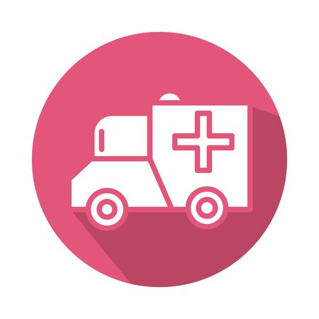 ambulance car vehicle block style icon vector illustration design