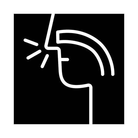 respiratory tract human organ silhouette style vector illustration design