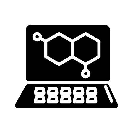 dna medical symbol in laptop silhouette style vector illustration design