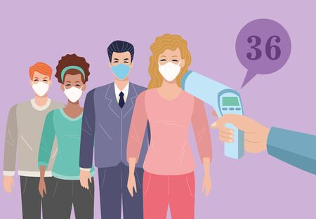people using face masks in temperature check point for covid19 vector illustration design