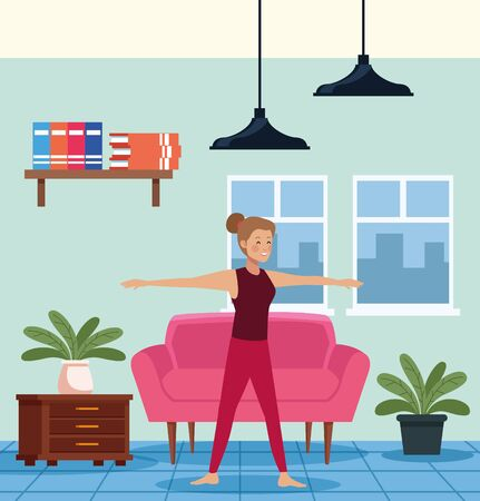 young woman practicing exercise in the house scene vector illustration design Çizim