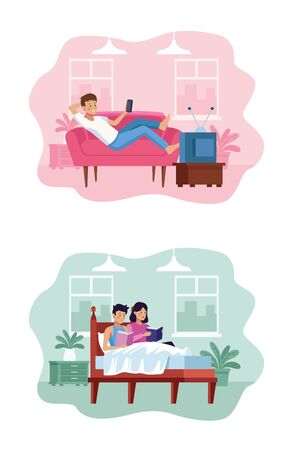 people in quarentine house places scenes vector illustration design