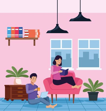 couple in quarentine livingroom scene vector illustration design Çizim