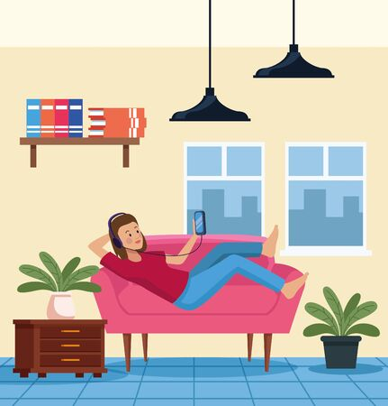 woman using smartphone in sofa scene vector illustration design Çizim
