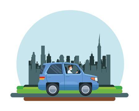 man driving cart using face mask character vector illustration design