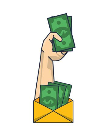 hand with envelope and bills money dollars vector illustration design