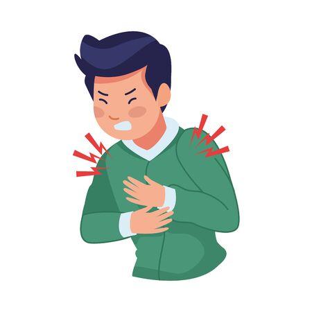 man sick with chest pain covid19 symptom vector illustration design