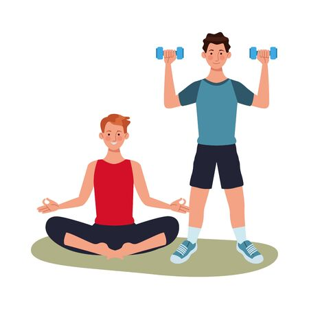 young men athletes practicing exercise characters vector illustration design