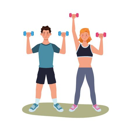 young couple athlete practicing exercise characters vector illustration design Ilustrace