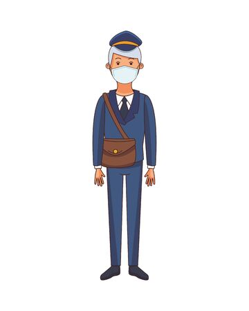 courier worker profession using face mask vector illustration design