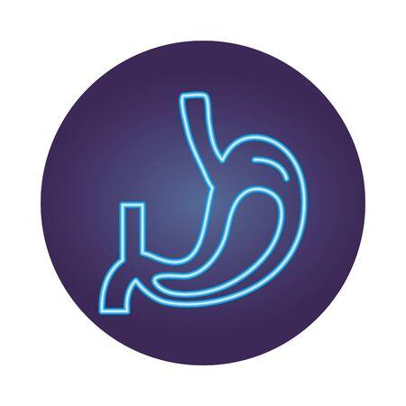 stomach human organ neon style icon vector illustration design