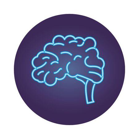 brain human organ neon style icon vector illustration design Illustration