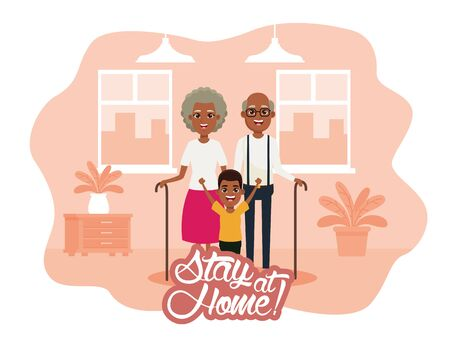 stay at home campaign with afro grandparents and grandson vector illustration design