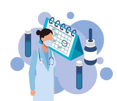 female doctor with laboratory equipment character vector illustration Illustration