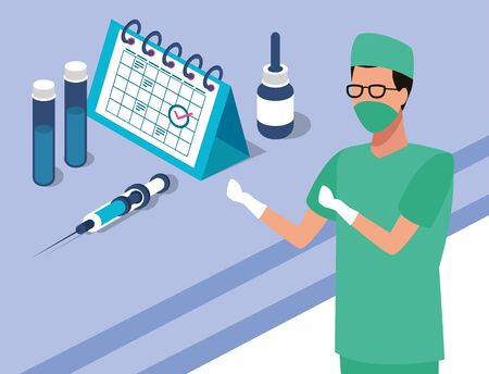 surgeon with laboratory equipment character vector illustration design