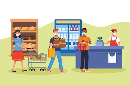 people shopping in supermarket with face mask vector illustration design