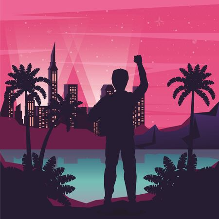 cyber punk poster with man in landscape silhouette vector illustration design