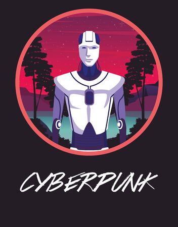 cyber punk poster with humanoid robot vector illustration design