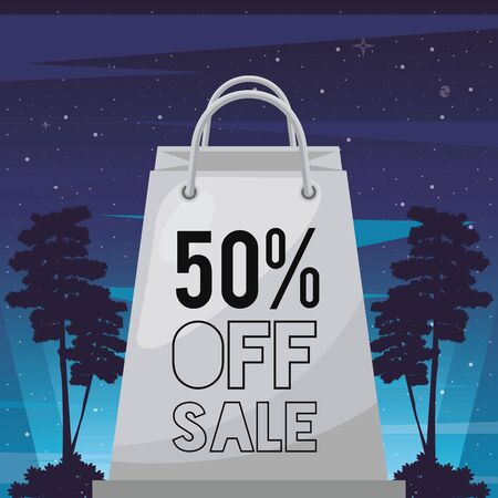 sale cyber punk poster with shopping bag vector illustration design