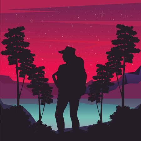 cyber punk poster with woman in landscape silhouette vector illustration design