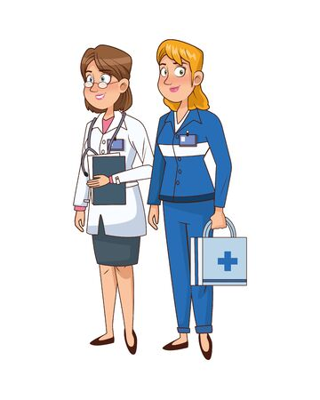 professional doctor and paramedic avatars characters vector illustration design