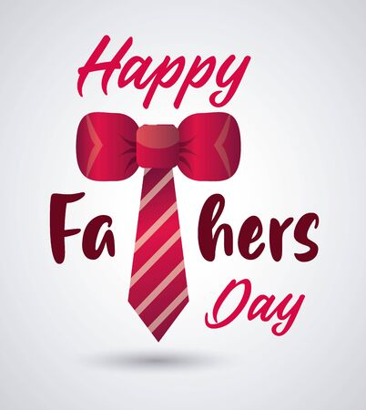 happy fathers day card with necktie vector illustration design