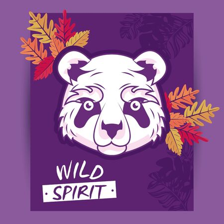 wild bear panda spirit creative design vector illustration graphic