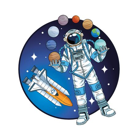 astronaut with rocket and planets in the space vector illustration design Illustration