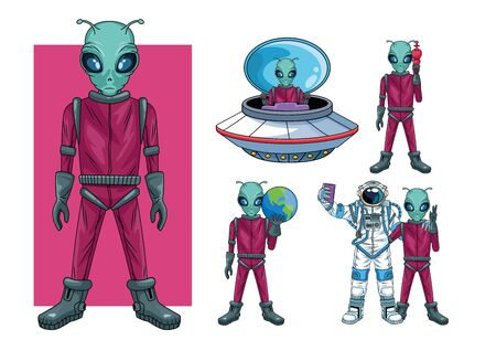 aliens and astronaut in the space characters vector illustration design
