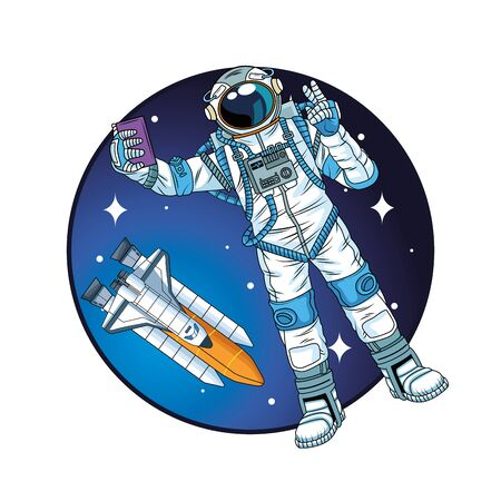astronaut with rocket in the space character vector illustration design