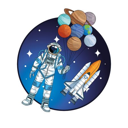 astronaut with rocket and planets in the space character vector illustration design