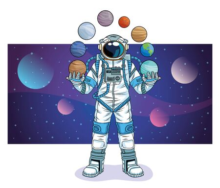 astronaut with planets in the space character vector illustration design