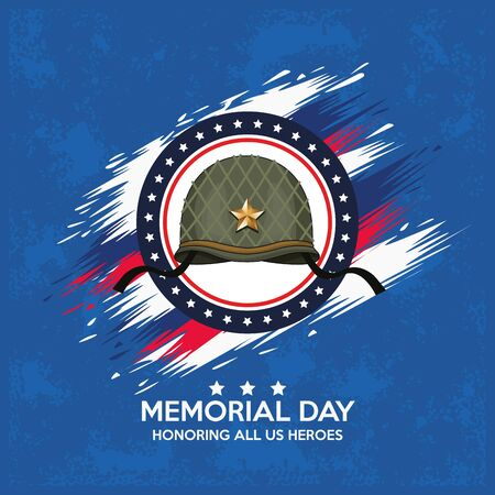 memorial day celebration poster with military helmet vector illustration design