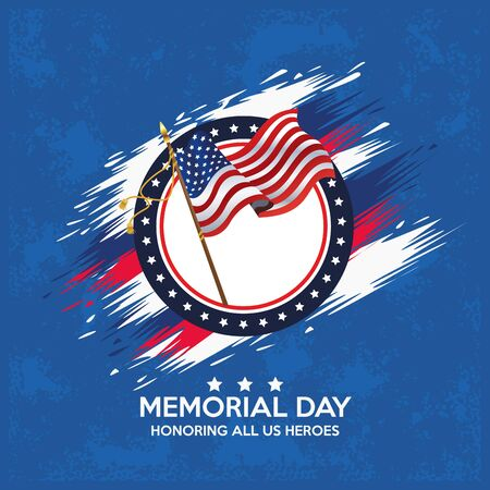 memorial day celebration poster with usa flag vector illustration design