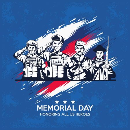 memorial day celebration poster with troop of heroes vector illustration design Illusztráció